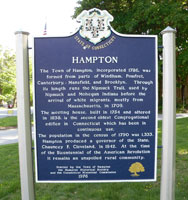 Hampton Connecticut historic marker