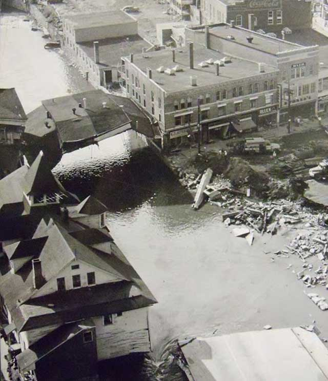 Overhead view of buildings on Main St Bridge