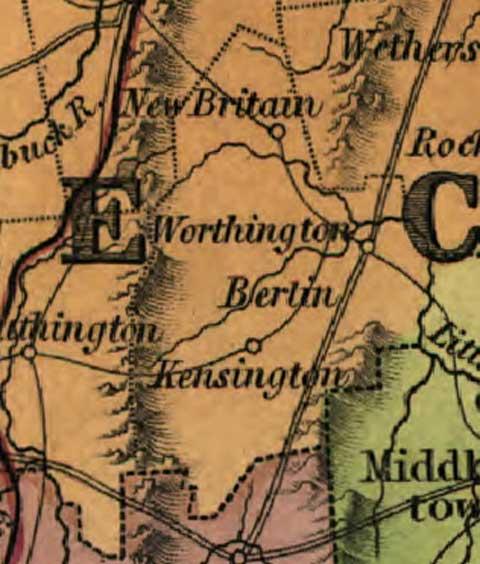 connecticut map - 1831