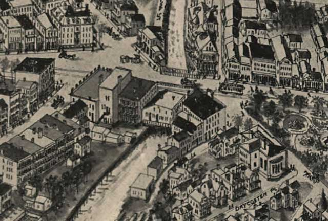 1907 Map of Torrington Showing Center Bridge Building.