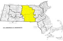 Worcester County HIghlighted Map of Massachusetts