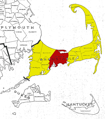 Barnstable highlighted in Barnstable County