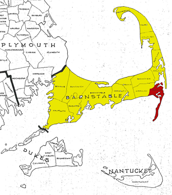 Chatham highlighted in Barnstable County